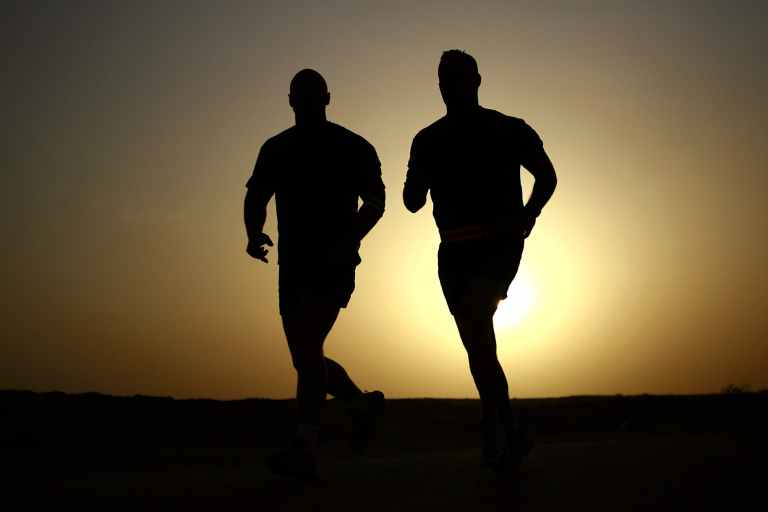 sunset men sunrise jogging