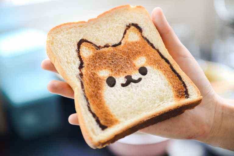 slice of loaf bread with dog face