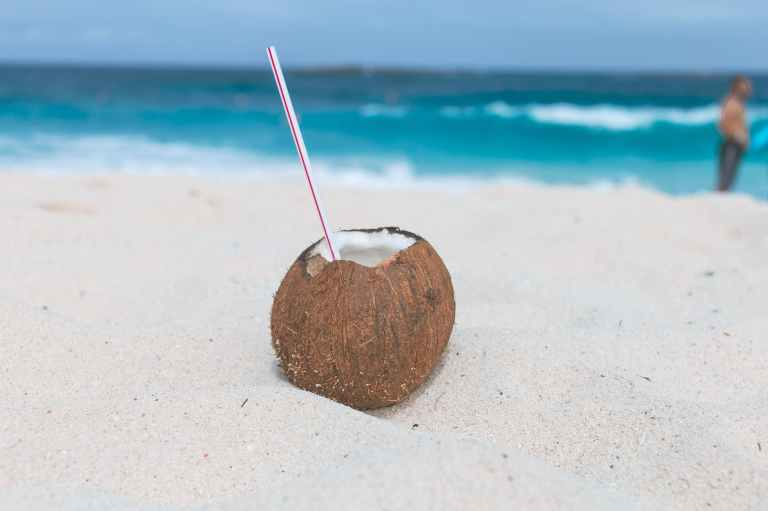 brown coconut on sand